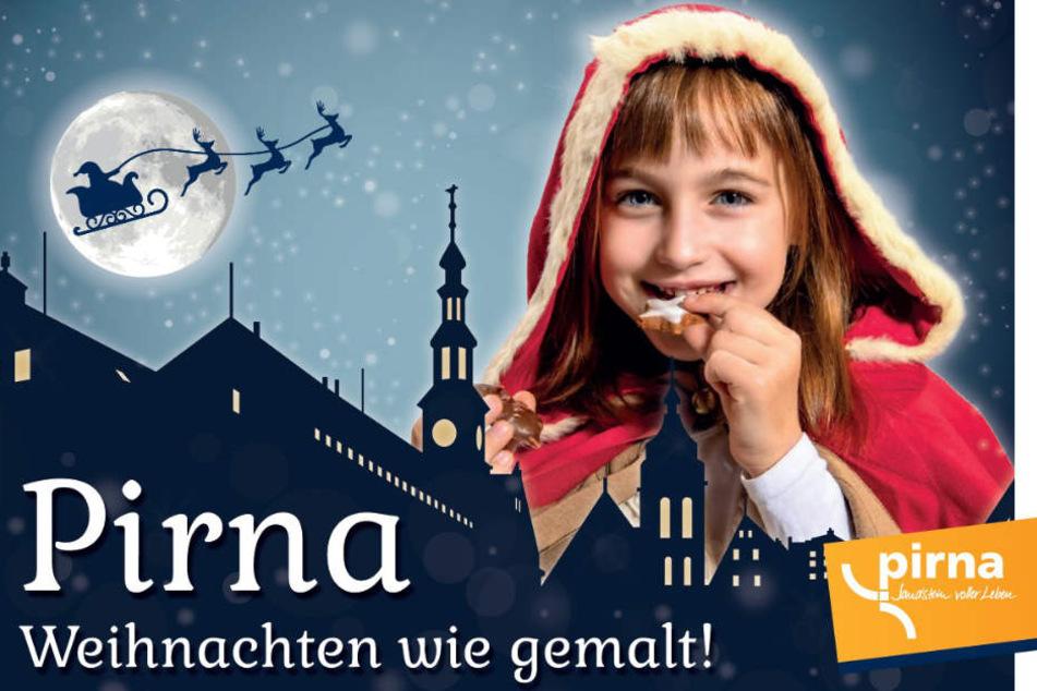 """So wirbt die Stadt Pirna in diesem Jahr für die Weihnachtszeit: """"Pirna – Weihnachten wie gemalt!""""."""