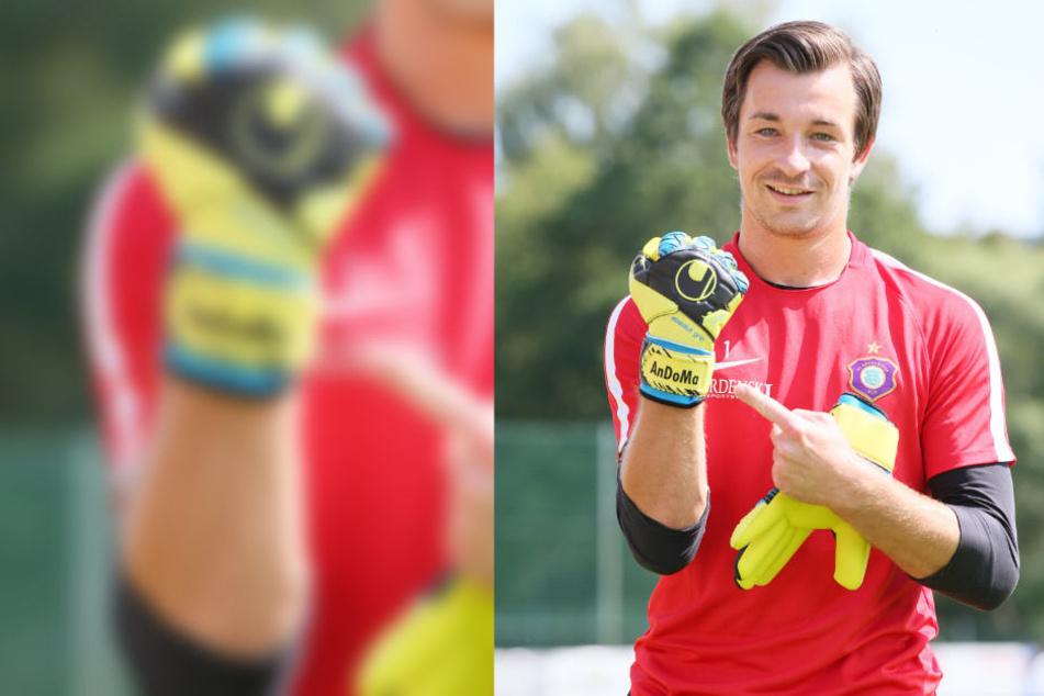 AnDoMa: Martin Männel hat die Initialen seiner Liebsten - Anton, Doreen, Max - auf den Handschuhen.