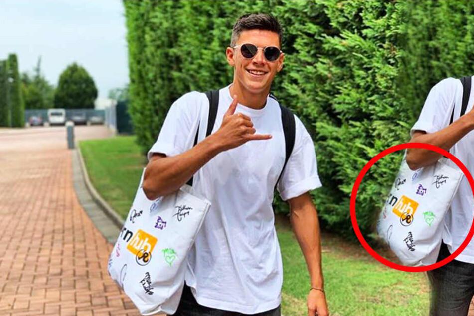 Matteo Pessina und seine Pornhub-Tasche inklusive Unterschriften von Pornostars. (Bildmontage)