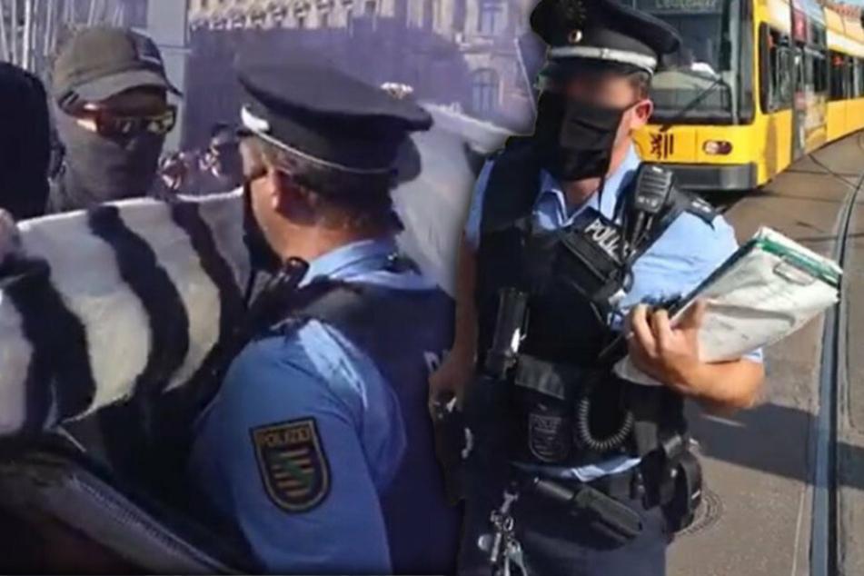 """Beim Zusammenstoß der Demonstranten mit der Polizei auf der Wilsdruffer fiel der verhängnisvolle Satz: """"Schubs mich und Du fängst Dir 'ne Kugel"""". (Bildmontage)"""