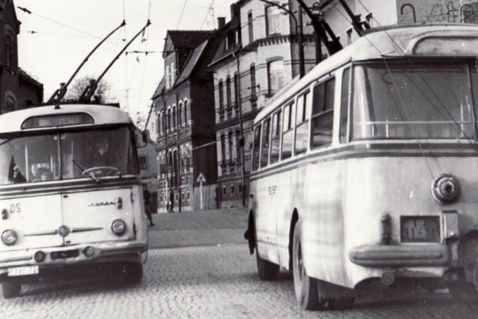 Bis 1977 ein alltägliche Bild in Zwickau: O-Busse des Typs Skoda.