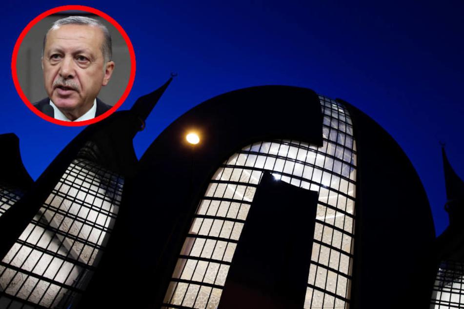 Zu große Nähe: Der türkische Präsident Recep Tayyip Erdogan und die Ditib Zentralmoschee in Köln.