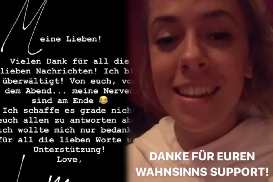 Nach der Show bedankten sich beide auf Instagram bei ihren Fans. Links Luna, rechts Vanessa. (Screenshots)