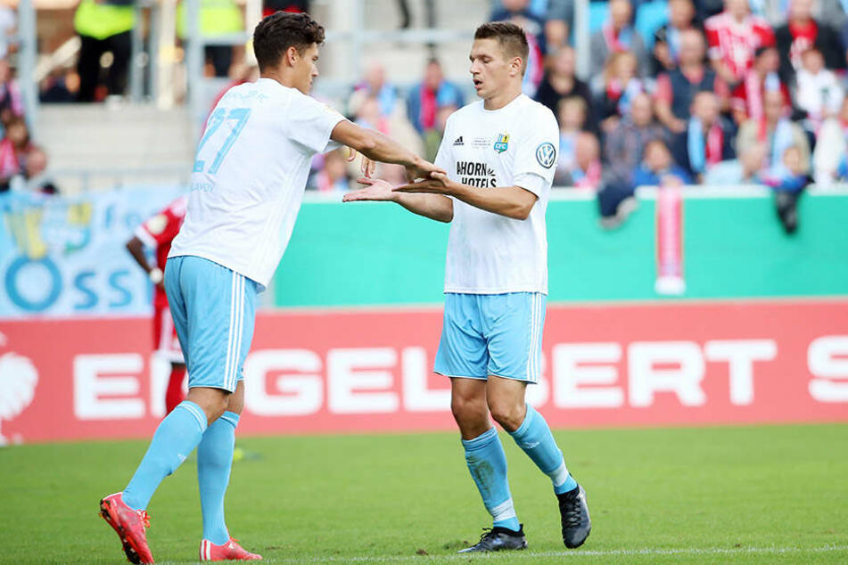 Das Duo Myroslav Slavov (l.) und Daniel Frahn erzielte 13 der 21 CFC-Tore.