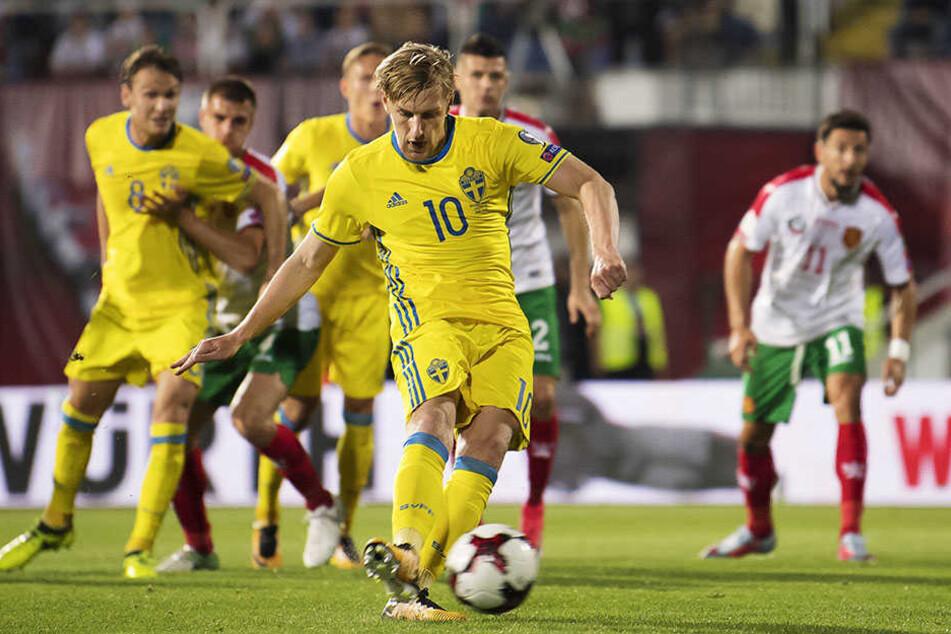 Emil Forsberg verschoss einen Elfer der Schweden.