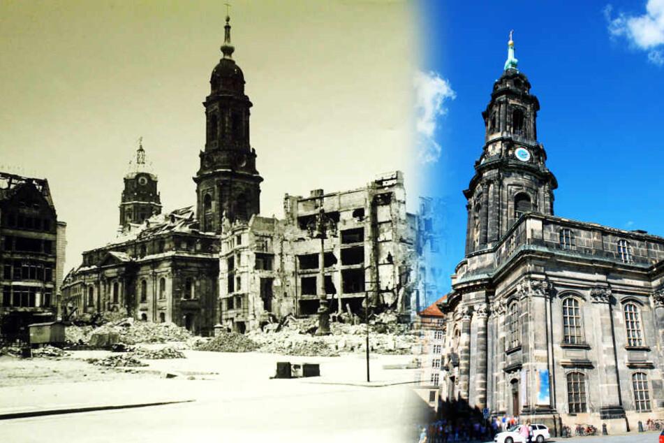 Kreuzkirche 1945 und 2020.
