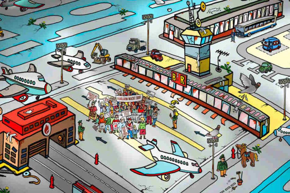 """Mit schönen Zeichnungen und viel Witz ist """"Das verrückte Flughafenspiel"""" ein schönes Geschenk zu Weihnachten."""