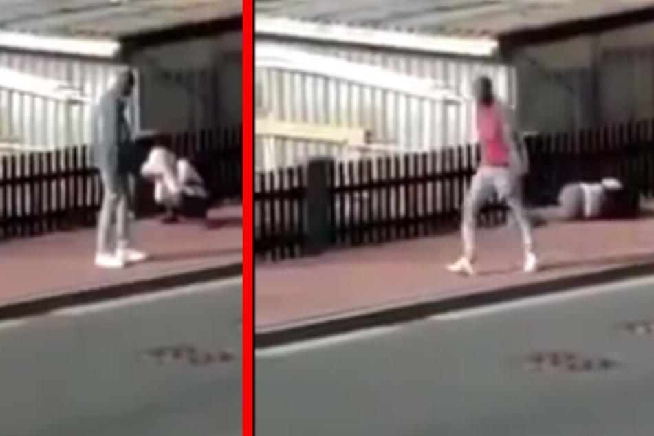 Der Mann schlug immer wieder auf die Frau ein, solange, bis sie am Boden lag.