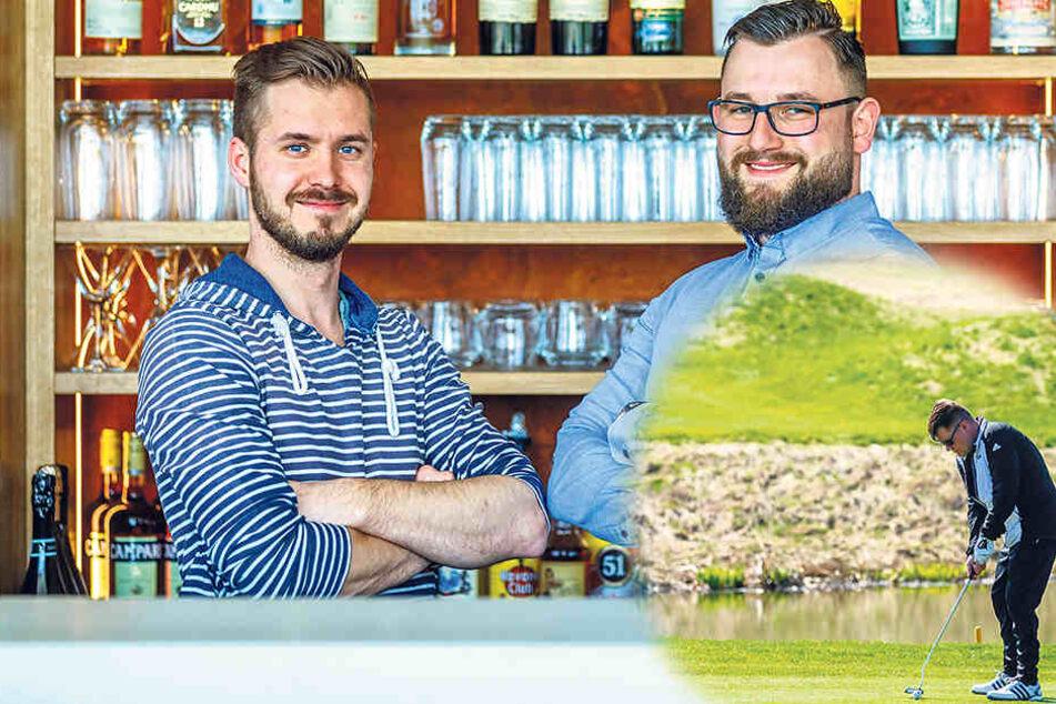 """Die """"Issma""""-Chefs Chris Schmieade (31, l.) und Christian Stellmacher (29)  haben 150.000 Euro in die Gastronomie auf dem Golfplatz Herzogswalde investiert."""