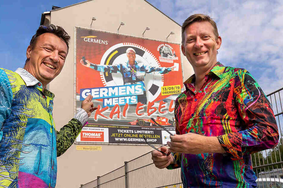 Designer René König (46, r.) und Mitveranstalter Kai Schmidt (54) holen Kai Ebel (54) für ein Event nach Chemnitz.
