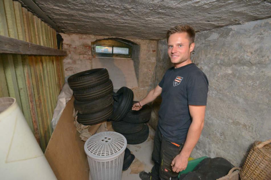 In diesem Kellerverschlag entdeckte Mieter Nico Arnold (28) den findigen Einbrecher.