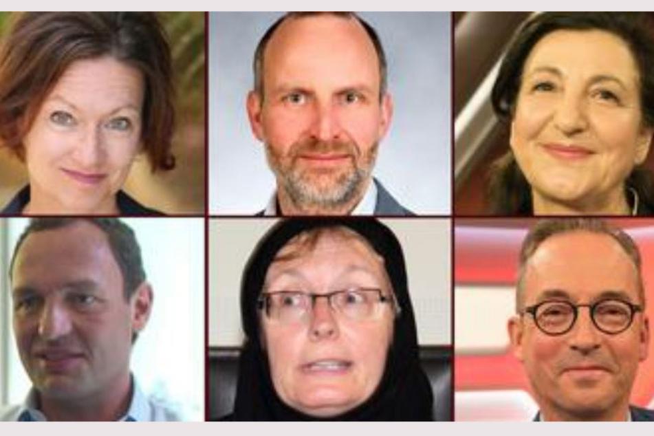 Die Experten im Live-Chat: Martina Zöllner, Clemens Schaeffer, Necla Kelek, (oben, v.l.n.r.); Titus Selge, Ulrike Freitag, Jan Fleischhauer (unten, v.l.n.r.).