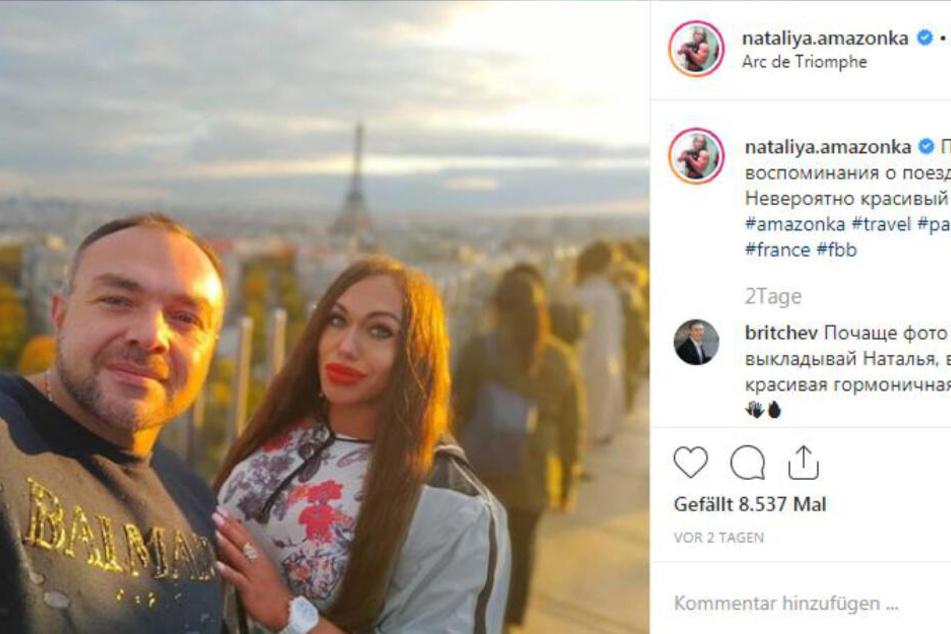 Nataliya und ihr Mann Vladislav beim gemeinsamen Paris-Urlaub. Ob es da auch mal ein Crossaint gab?