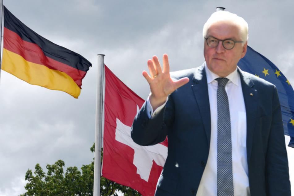 Bundespräsident Frank-Walter Steinmeier (62, SPD) auf Staatsbesuch in der Schweiz. (Bildmontage)