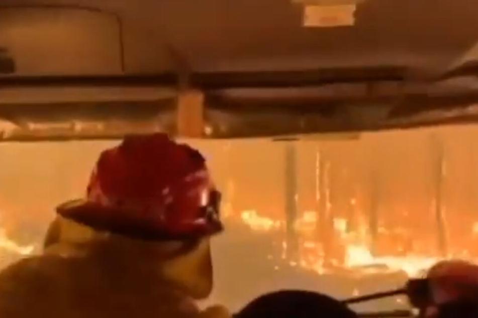 Dieser Screenshot aus einem Video der Feuerwehr zeigt, wie heftig die Buschfeuer in Australien toben.