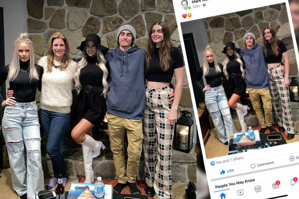 There are five people in the original photo (l.). In the dad's version (r.), Courtney's mother was removed (collage).