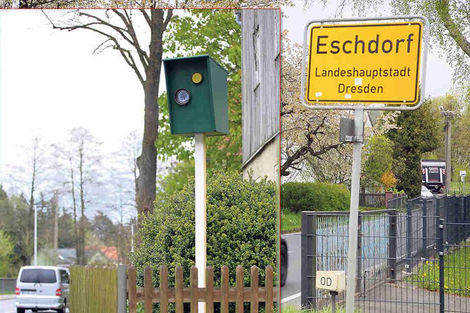 """Sieht täuschend echt aus und erzielt aktuell auch noch seine """"Brems-Wirkung"""":  die Blitzer-Attrappe an der Pirnaer  Straße (S177)."""