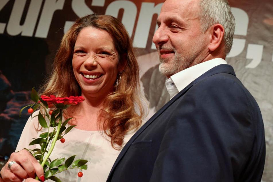 Feiks mit Fraktionschef Rico Gebhardt (54), den sie beerbte, am Samstag in Chemnitz.