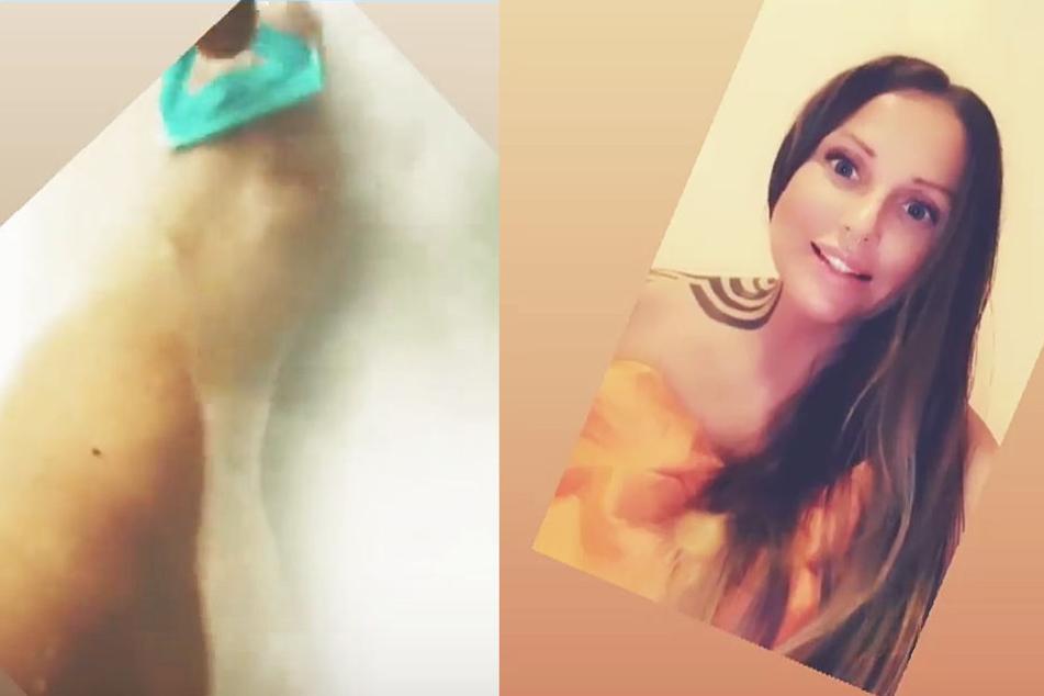 Die Fotomontage zeigt zwei Screenshots aus Instagram-Storys von Schwesta Ewa – liks ist mutmaßlich der Fuß der Rapperin zu sehen.