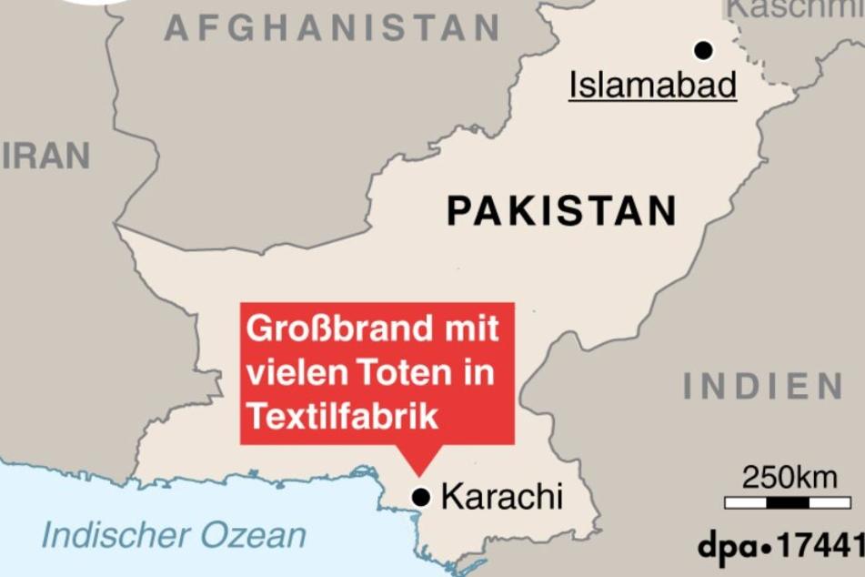 258 Personen starben bei dem Feuer in einer Textilfabrik im pakistanischen Karachi.