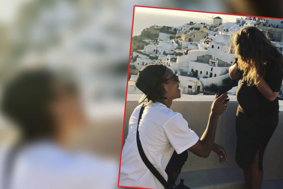 Vor der malerischen Kulisse in Santorini ging Yussuf Poulsen vor seiner schwangeren Freundin Maria auf die Knie.
