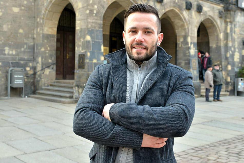 Thomas Uhl (33, SPD) absolvierte am Mittwoch seine erste Stadtratssitzung im Rathaus.