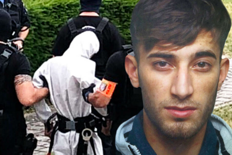 Von Polizisten eskortiert wurde Ali Bashar zu einem Polizeihubschrauber gebracht.