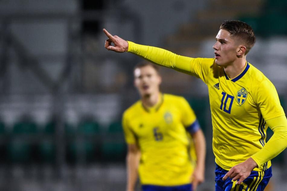 Viktor Gyökeres jubelte über seinen Treffer für die schwedische U21.