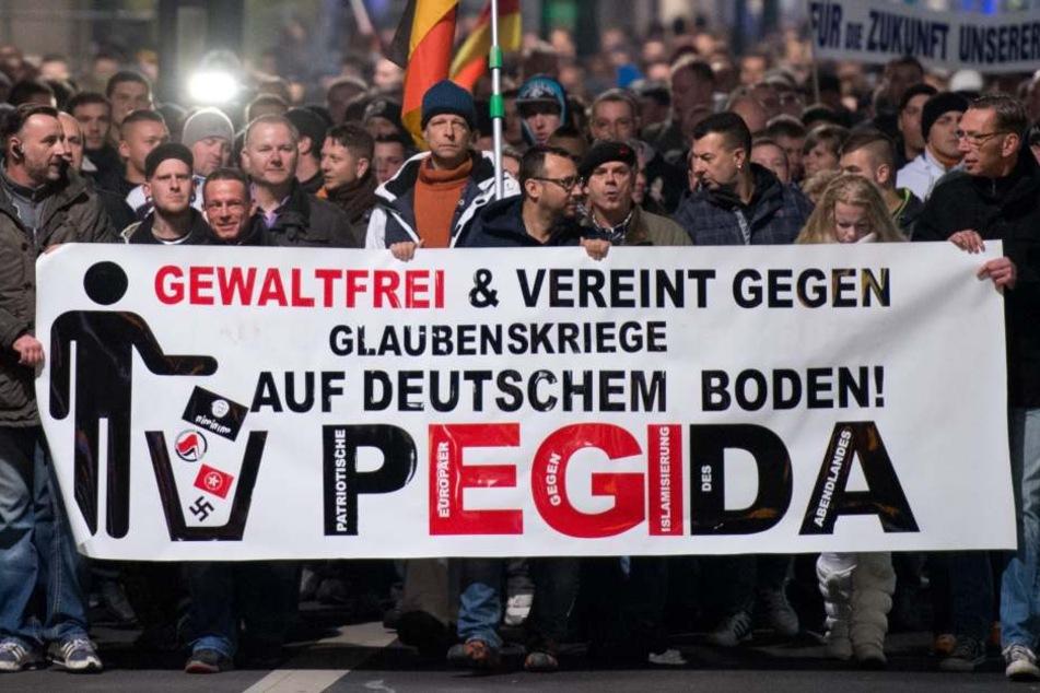 """Hunderte Teilnehmer einer Demonstration unter dem Motto """"Patriotische Europäer gegen die Islamisierung des Abendlandes"""". (Archivbild)"""