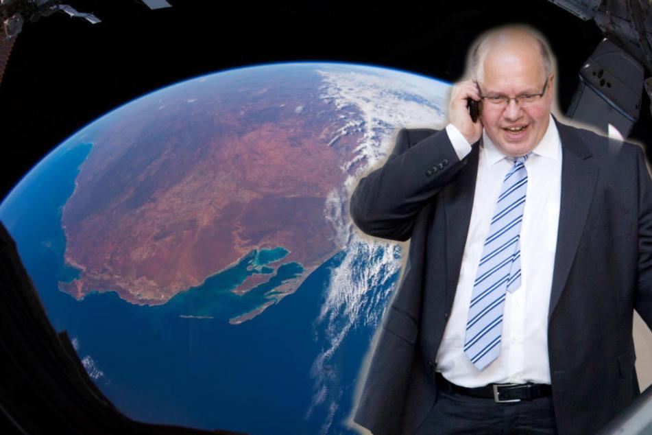 Etwa 20 Minuten soll der Live-Call zwischen Peter Altmaier und Alexander Gerst auf der ISS gehen. (Bildmontage)
