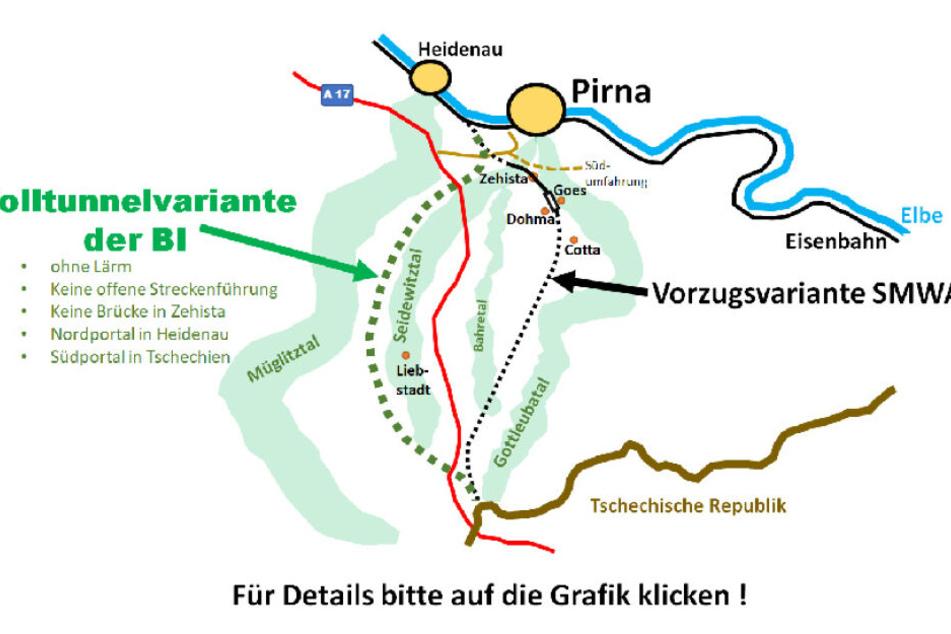 Zwei bislang bevorzugte Varianten. Links die der Bürgerinitiative, rechts die des sächsischen Wirtschaftsministeriums. In der Mitte die A17.