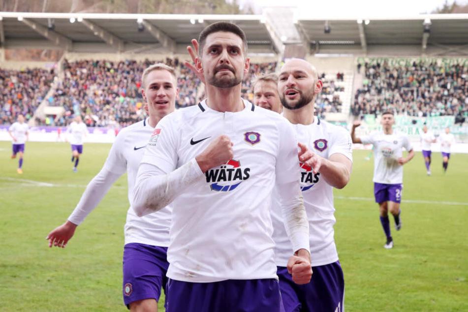 Mit sieben Treffern der effizienteste Auer: FCE-Stürmer Dimitrij Nazarov.