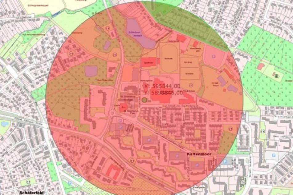 Karte mit dem zu evakuierenden Bereich in Lüneburg.