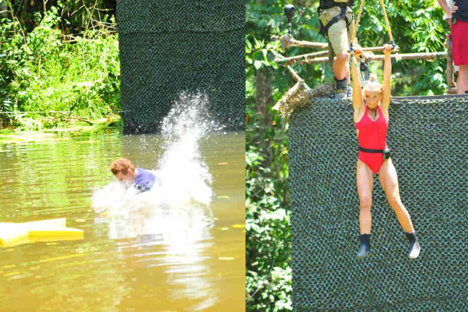 """Wie Tarzan und Jane schwangen die Kandidaten an einer """"Liane"""" und klatschten ins Wasser."""