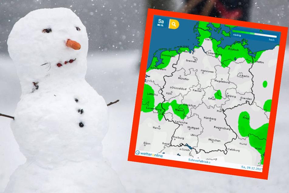 Für den Samstag sagt wetteronline.de (Screenshot-Grafik) für weite Teile Deutschlands erhöhtes Schneefall-Risiko voraus.