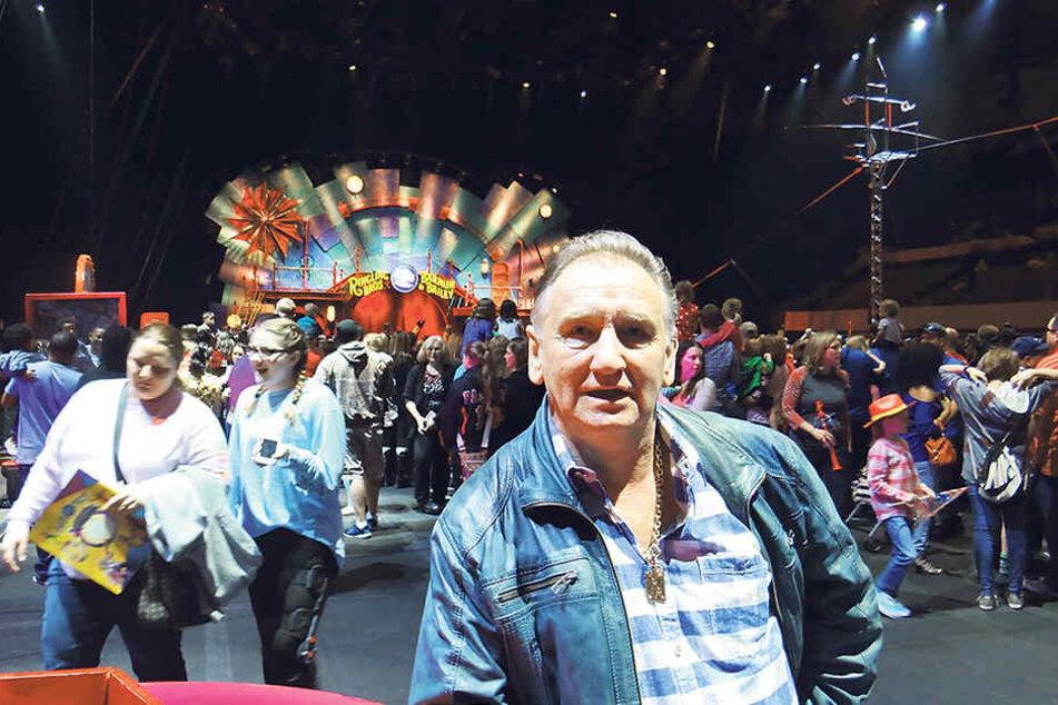 Mario Müller Milano bei der  Abschlussshow des weltgrößten Zirkus Ringling in Washington.