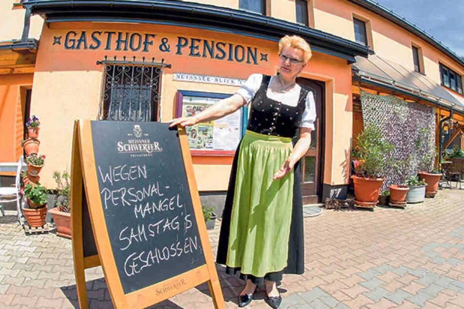 """Da Küchenpersonal fehlt, kann Angelika Kießling (56) ihren Gasthof """"Meissner  Blick"""" noch nicht mal am Samstag öffnen."""