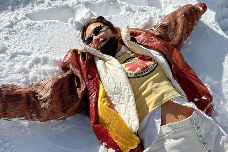 Supermodel Bella Hadid took to Instagram to share her snow angels.