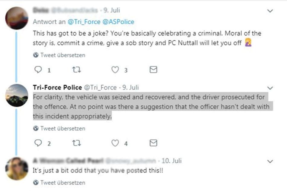 Die Tri-Force Police musste sich auf Twitter rechtfertigen.