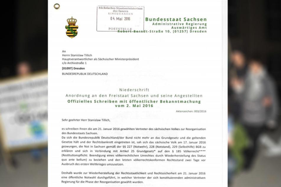 """Mit diesem Schreiben wandte sich der """"Bundesstaat Sachsen"""" an Tillich (57, CDU)."""