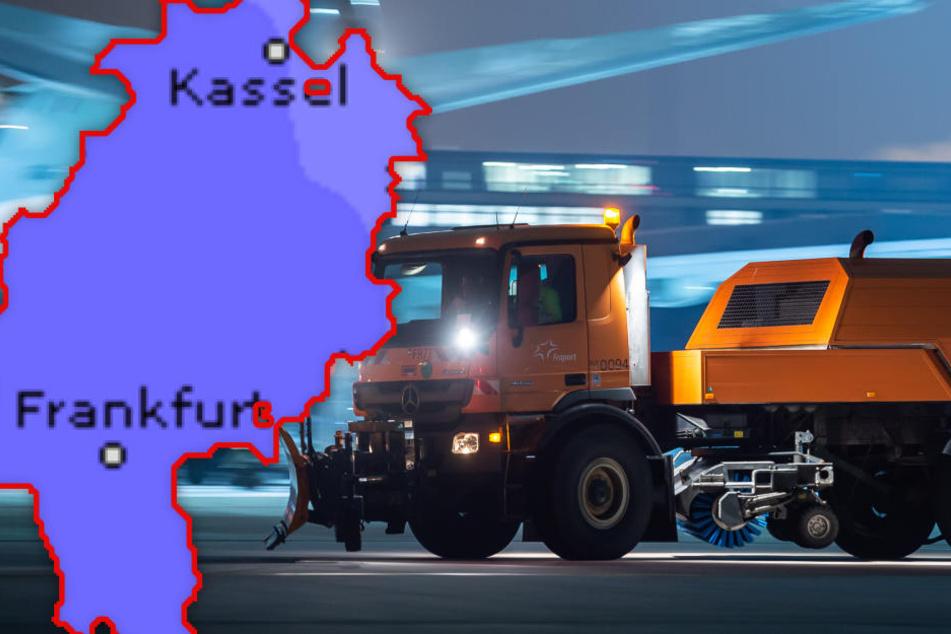 Bildmontage: Am Frankfurter Airport hat man rund 1300 Mitarbeiter für den Winterdienst eingeplant.