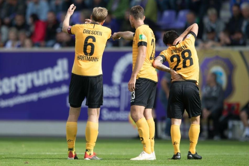 Rätselraten um die Vorstellung in Aue: Marco Hartmann, Florian Ballas und Baris Atik (von links).