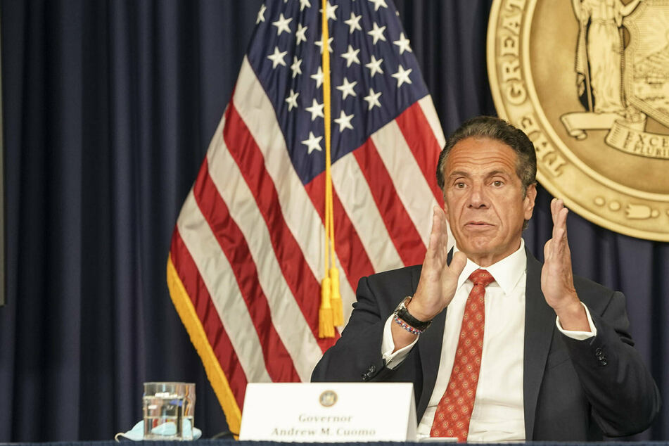 New York Governor Andrew Cuomo speaking at a press conference at the end of May.