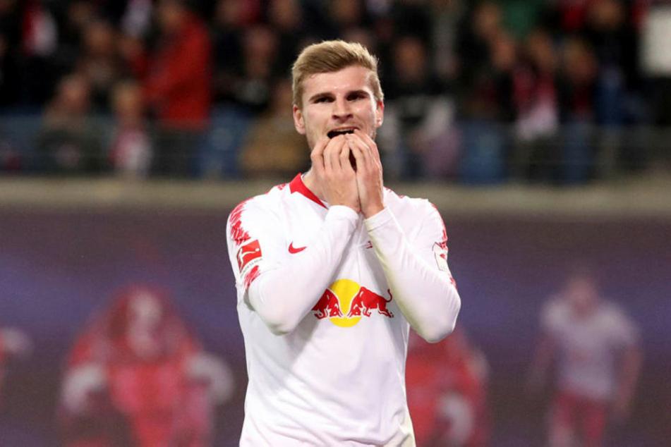 Sein Tor wurde wegen Abseits zurückgenommen: Timo Werner blieb gegen seinen Ex-Verein glücklos und ohne (regulären) Treffer.