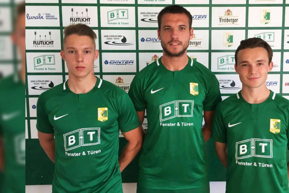 Max Keßler (19), Sebastian Berg (27) und Niklas Opolka (19, v.l.n.r.) stehen in der kommenden Saison für die Leutzscher auf dem Platz.