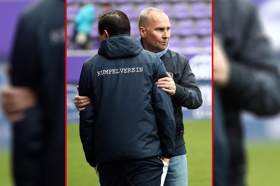 FCE-Boss Helge Leonhardt (r.) nimmt Trainer Daniel Meyer in den Arm. Personaldebatten sollten jetzt als Allerletztes geführt werden.