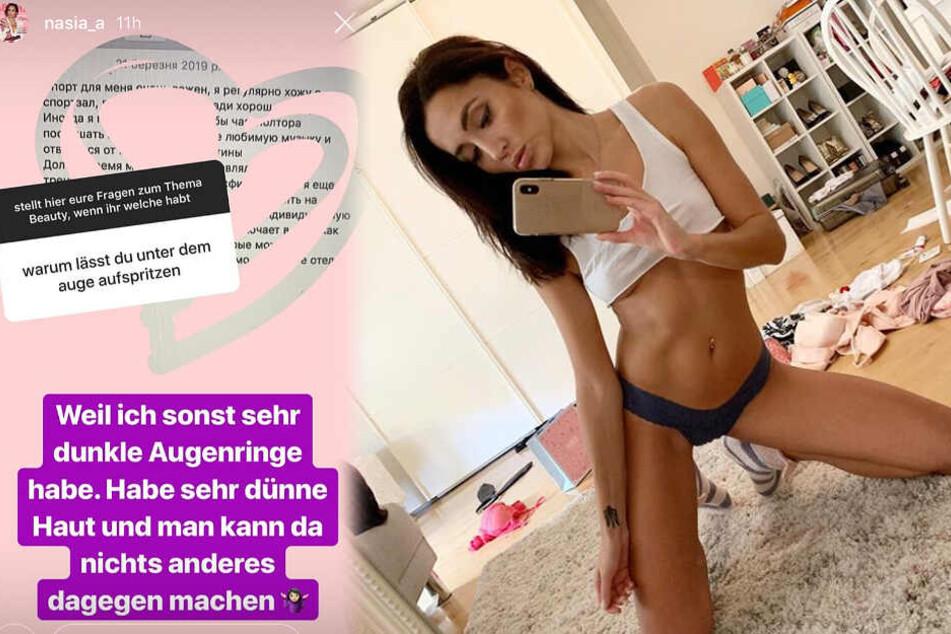 Die Montage zeigt zwei Screenshots aus dem Instagram-Profil von Anastasiya.