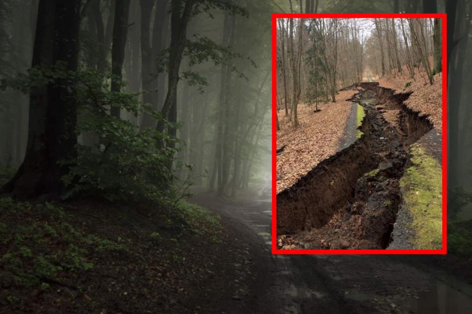 Wie in einem Katastrophenfilm sackte der Weg ab. (Fotomontage)