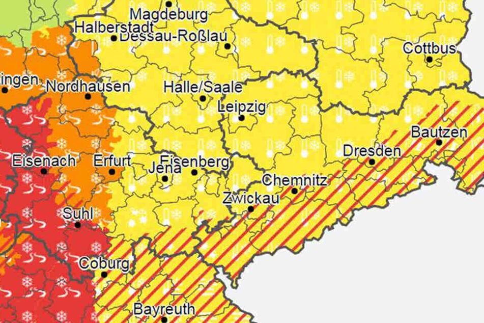 Alarmstufe rot: Von Westen kommen Niederschläge und die bringen Glatteis mit.