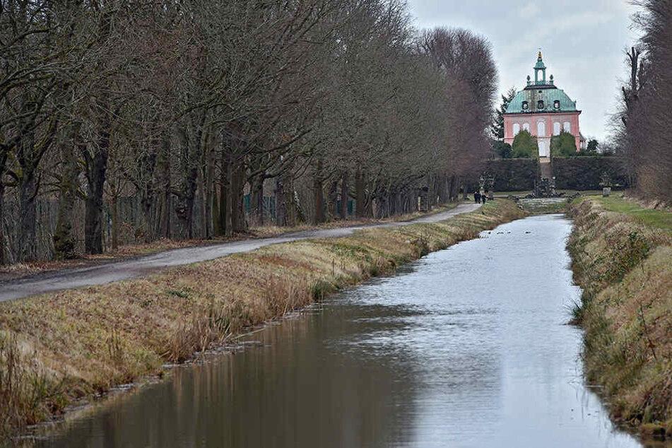 Der sanierte Kanalabschnitt. Im Hintergrund das Fasanenschlösschen. Der Kanal befindet sich südöstlich von Schloss Moritzburg am Fasanenschlösschen.
